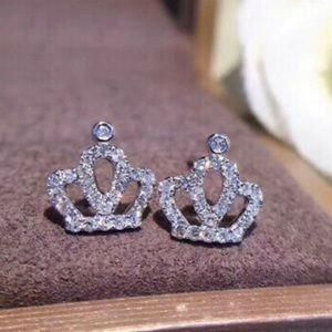 - New Sterling silver crown earrings